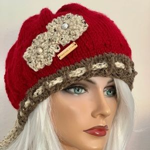 Hand Knits 2 Love Beanie Slouch Floral Beads Tie